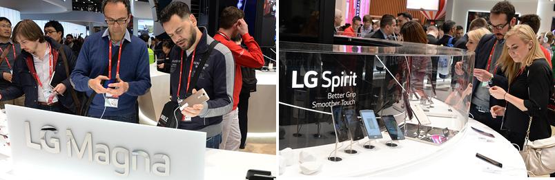 LG전자 보급형 라인업 존.  'LG 마그나', 'LG 스피릿'을 시연해 보고 있는 관람객들.