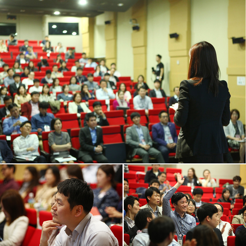 이그나이트 LG에 참여하는 참가자의 뒷모습(위), 발표를 경청하는 관객들(아래)