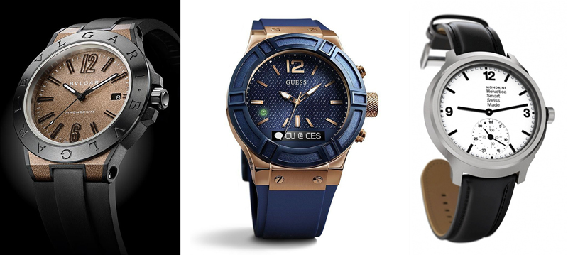 시계 브랜드 업체들이 선보인 스마트워치.  왼쪽부터 Bvlgari, Guess, Mondaine