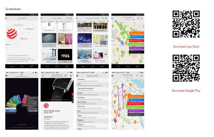 레드닷 App을 통해 디자인 정보를 확인할 수 있다. App 캡쳐화면(왼쪽), 앱을 다운로드 받을 수 있는 QR코드(오른쪽)