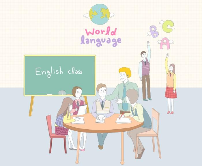 영어를 공부하고 있는 사람들의 일러스트. 외국인과 함께 테이블에 앉아 얘기를 나누고 있다.