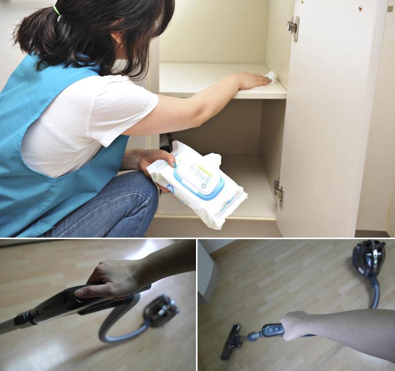 물티슈로 선반을 닦고 있는 모습(위), LG 무선 청소기로 바닥 청소를 하는 모습(아래)