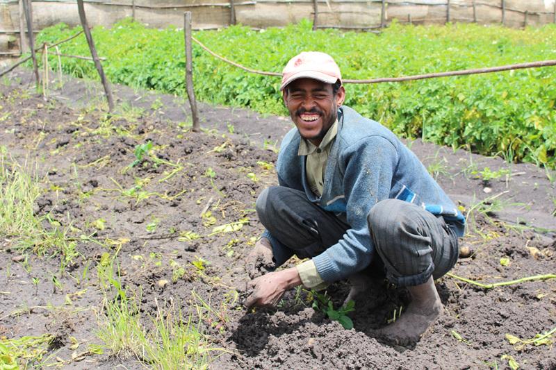 한 에티오피아인 남성이 밭에서 땅을 일구며 환히 웃고 있다.