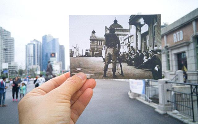 G4로 촬영한 서울역 과거와 현재, 일제강점기