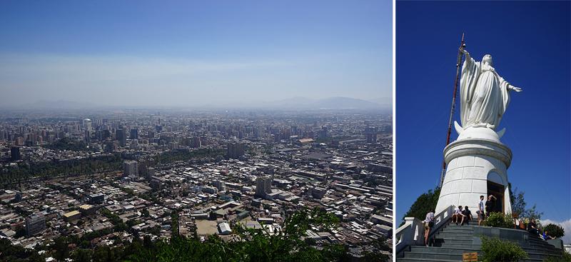 산 크리스토발 언덕에서 내려다 본 모습(좌), 성모마리아 상(우)