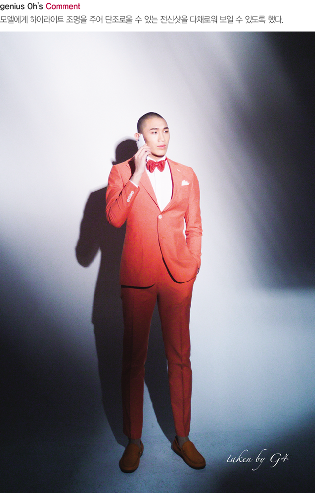 G4로 촬영한 남자 모델의 전신 샷.