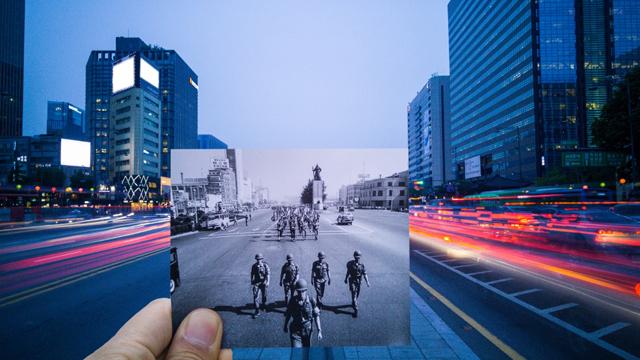 사진전문가 그룹 ZAKO의 나희돈 사진가가 'G4' 스마트폰으로 촬영한 세종로의 과거와 현재 이미지 입니다.