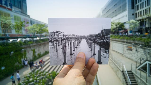 사진전문가 그룹 ZAKO의  심은식 사진가가 'G4' 스마트폰으로 촬영한 청계천의 과거와 현재 이미지 입니다.