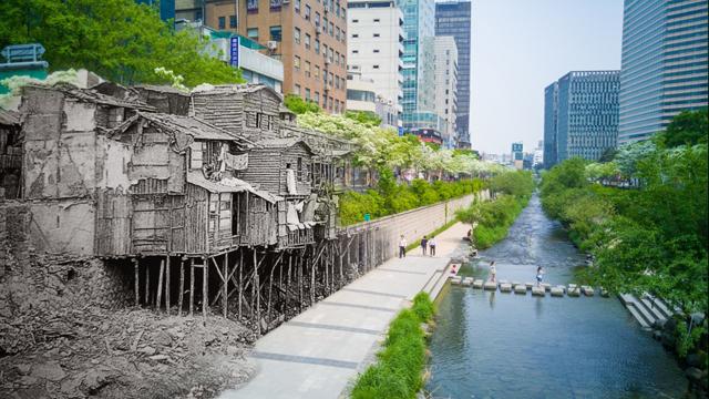 사진전문가 그룹 ZAKO의 김주원 사진가가 'G4' 스마트폰으로 촬영한 청계천의 과거와 현재 이미지 입니다.