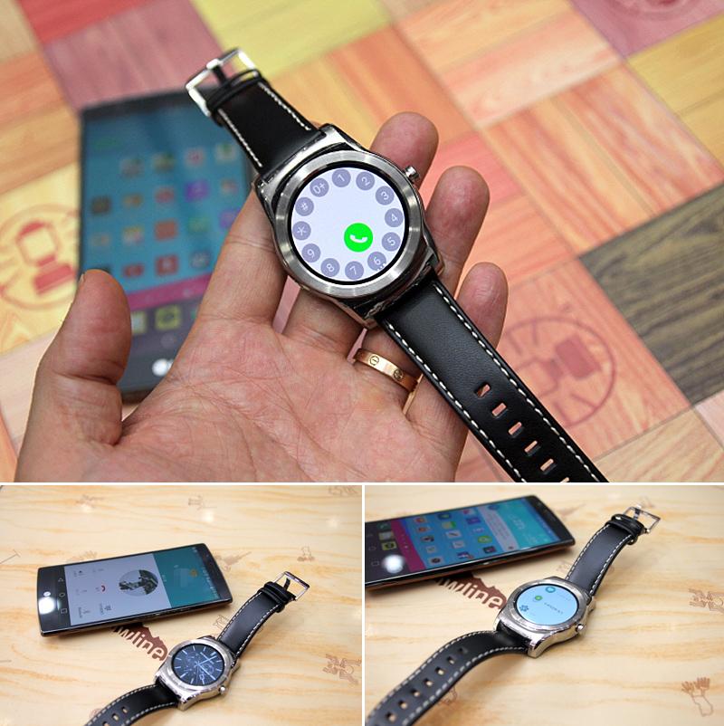 스마트워치에 전화를 걸 수 있는 버튼 다이얼이 보이다. (위), 테이블 위에 G워치 어베인과 스마트폰이 나란히 놓여있다.(아래)