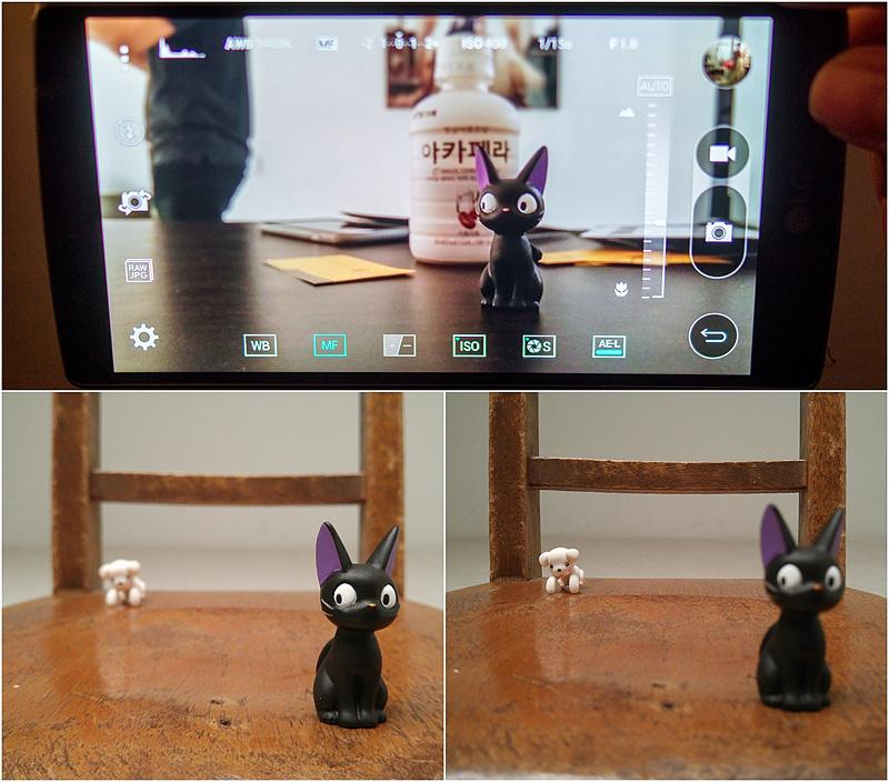 G4 카메라의 아웃포커싱 기능을 활용해 촬영한 사진. 앞의 고양이에 초점이 맞은 사진(좌), 뒤의 강아지에 초점이 맞은 사진(우)