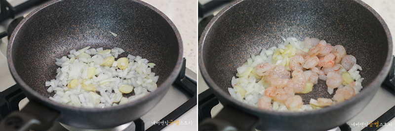 웍에 양파와 마늘을 볶는 모습(좌), 웍에 새우를 볶는 모습(우)