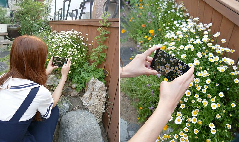 지숙이 G4로 정원에서 들꽃을 촬영하고 있다.