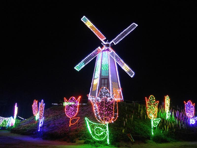 LED 조명으로 빛나는 풍차의 야경 사진