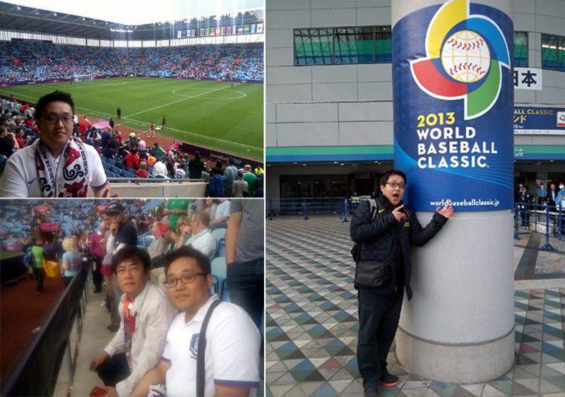 왼쪽 위에서부터 시계 반대 방향으로 2012년 런던올림픽 보켄트리 스타디움, 연예인 이경규씨와 촬영한 사진, 2013 WBC 일본 도쿄돔에서 촬영한 사진