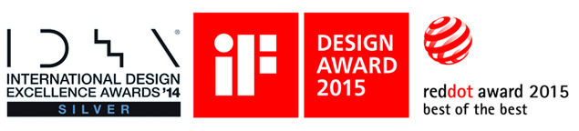 왼쪽부터 dual DID 2014 IDEA 수상 로고, IF 디자인 어워드 2015 수상 로고, 레드닷 어워드 2015 로고