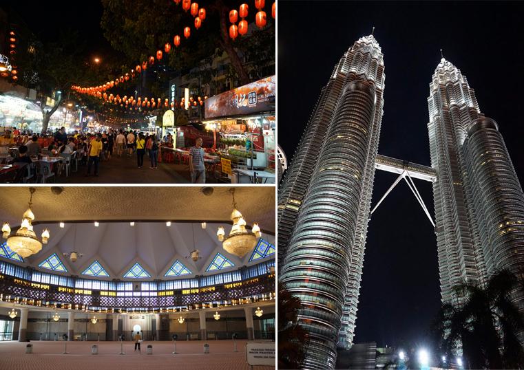 말레이시아의 쇼핑 타운과 야경 모습