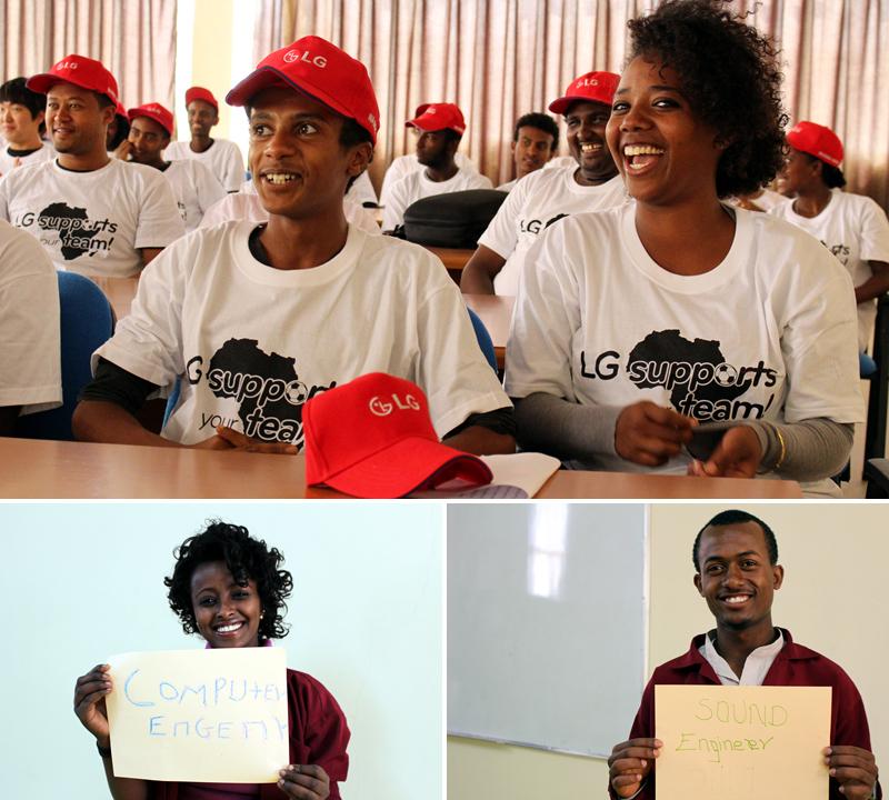 에티오피아 학생들이 수업을 듣고 있는 모습. 우빗 (Wubit Meten, 18세) 좌, 샘슨 (Samson Mesfin, 20세) 우