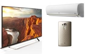 사진 왼쪽부터 시계 방향으로 로즈골드 색상 적용 '슈퍼 울트라HD TV', '골드 플러스' 에어컨, 'G4 샤이니 골드' 제품 사진.