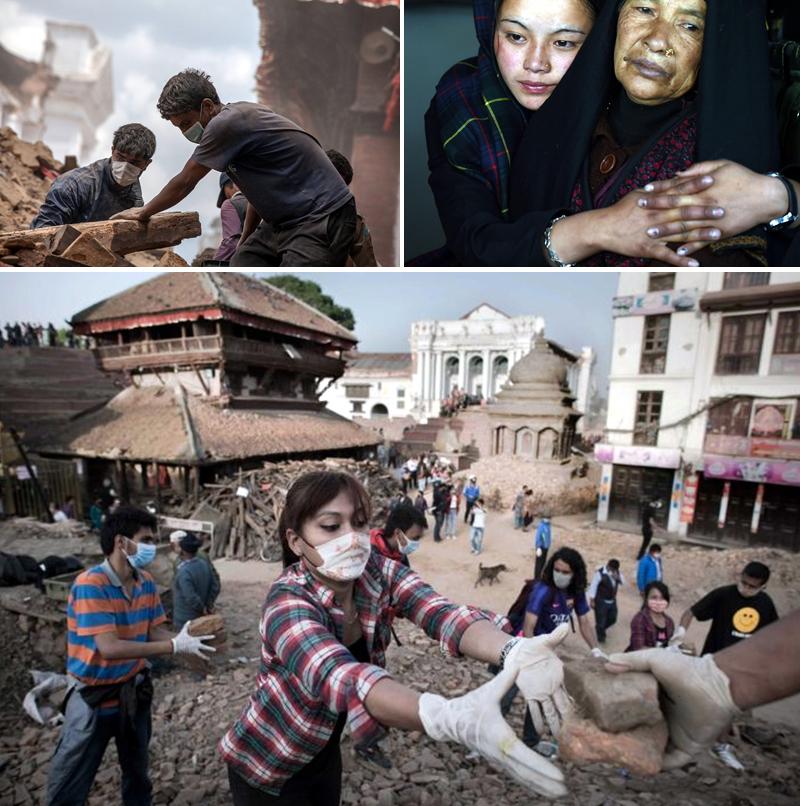 무너진 건물을 복구하는 사람들