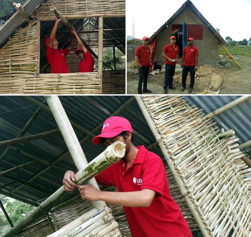 네팔에 조립식 주택을 짓는 LG전자