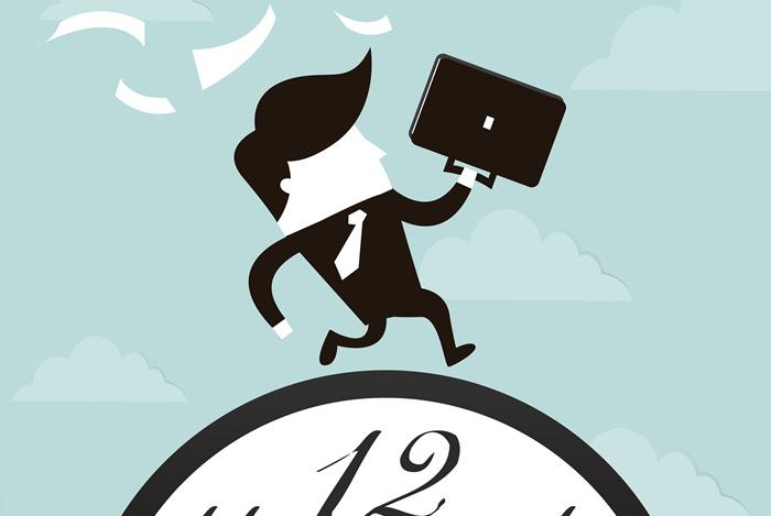 직장인이 시계 위에서 바쁘게 뛰어가는 일러스트