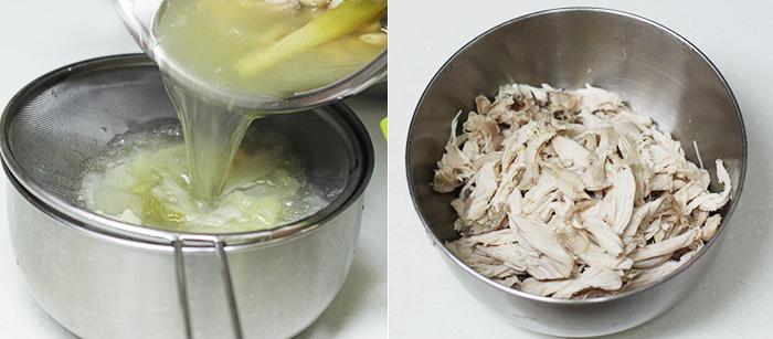 육수를 분리한 닭과 손질한 닭고기