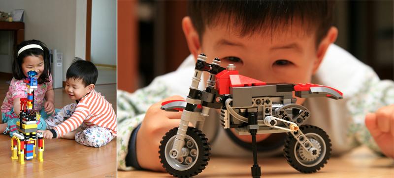 집에서 레고를 만들고 있는 어린 아이들
