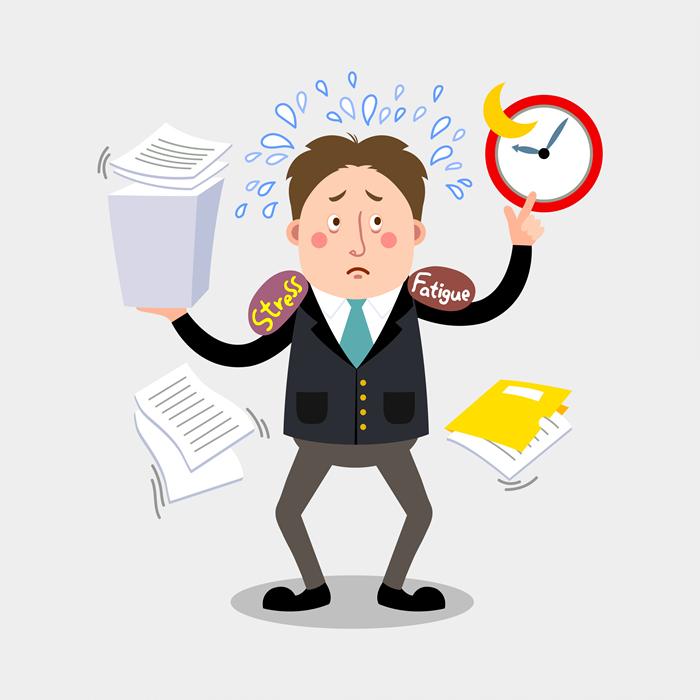 시간과 서류 업무에 쫓겨 난감해 하는 직장인 일러스트