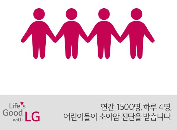 연간 1500명, 하루 4명 어린이들이 소아암 진달을 받습니다.