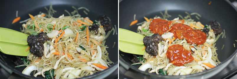 잡채를 볶고 있는 모습(좌), 볶고있는 잡채에 스파게티 소스를 넣은 모습(우)