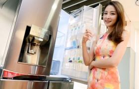 모델이 ''디오스 얼음정수기냉장고' 신제품을 소개하고 있습니다.