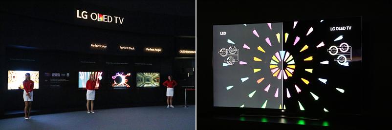 LED TV와 LG OLED TV를 비교할 수 있는 전시관 전경