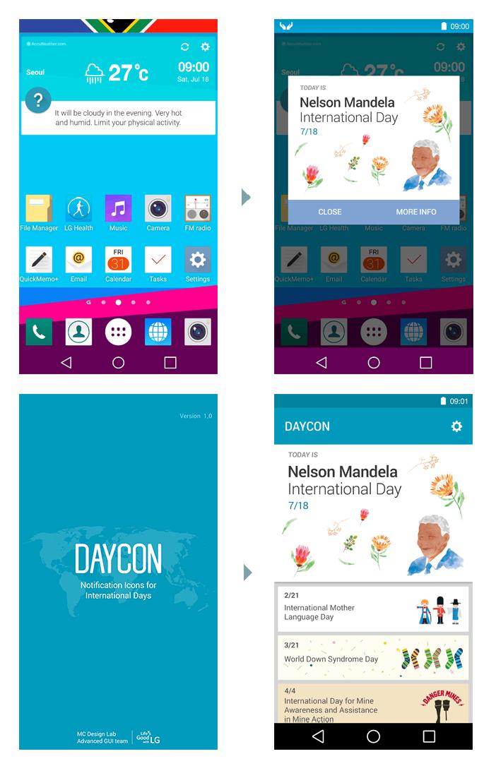 정한 시간 Animation 알림이 동작 > DAYCON과 팝업 >  Application에 접속 > 기념일 확인 및 참여