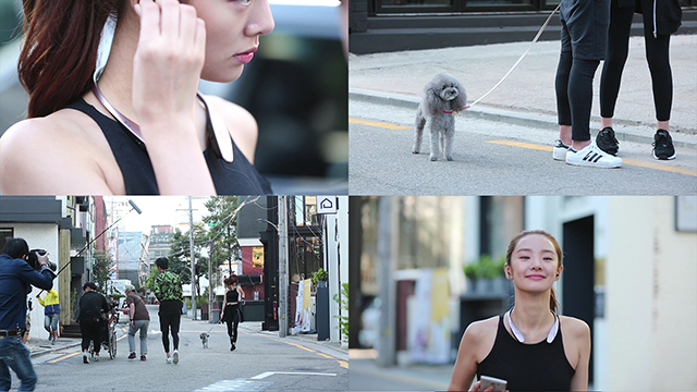 LG V10 라이프스타일 영상 촬영 중 조깅하는 스테파니 리.