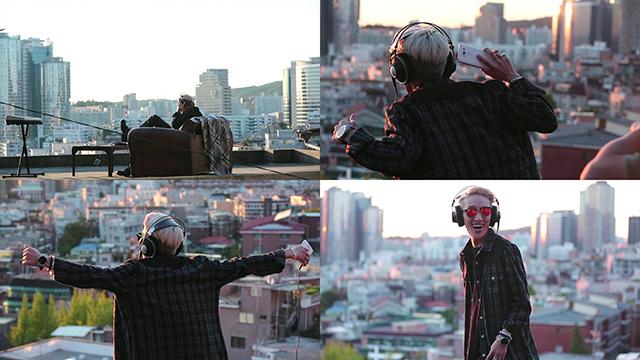LG V10 라이프스타일 영상 촬영 중 옥상 씬의 자이언티.
