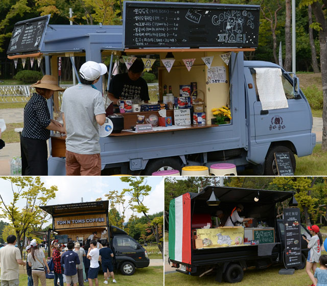 커피, 화덕피자 등 다양한 음식을 파는 푸드트럭의 모습