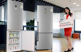 모델이 유럽스타일 냉장고를 소개하고 있습니다.