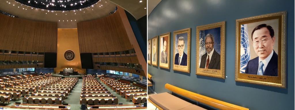 UN 공보국 내부 모습(왼쪽),벽에 걸려 있는 반기문 사무총장의 사진(오른쪽)