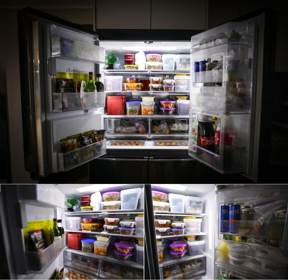 큰 수납 그릇도 넉넉히 넣을 수 있을 정도로 넓은 LG 얼음정수기 냉장고의 내부 모습
