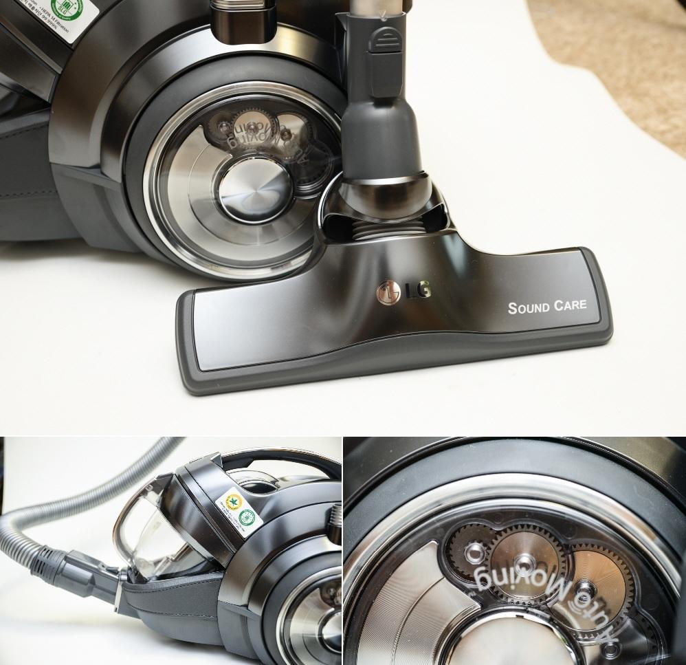LG 싸이킹 코드제로 청소기의 필터(좌상단), 바퀴(우상단), 사운드케어 흡입구(하단)가 눈에 띈다.