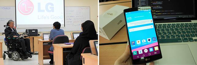 서울대 지구환경과학부 이상묵 교수와 박사과정 대학원생들이 아랍에미리트 지역 대학생들에게 장애인 접근성 강화 애플리케이션 개발 강의를 진행하고