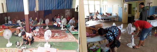 라오스 국립병원 환자 대기실과 일반병실 모습