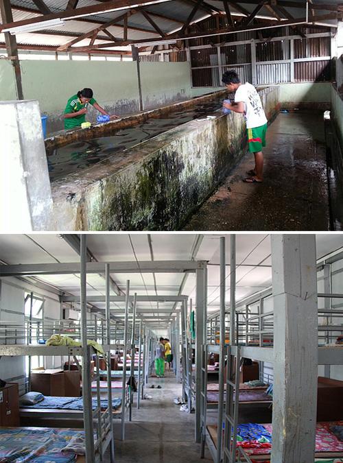 미얀마 체육학교 기숙사 세면대와 기숙사 전경