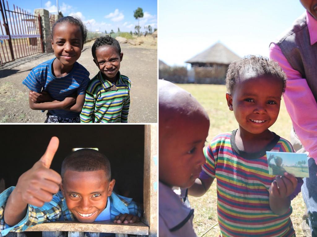 에티오피아 아이들이 카메라를 향해 웃거나, 엄지를 들어 보이는 모습