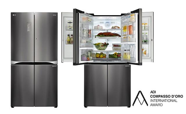 이탈리아산업디자인협회로부터 '황금콤파스상'을 수상한 LG 더블 매직스페이스 냉장고 입니다.