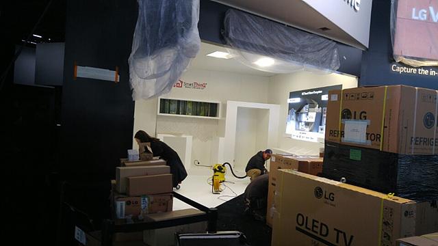 LG 스마트홈 전시 공간 준비 모습