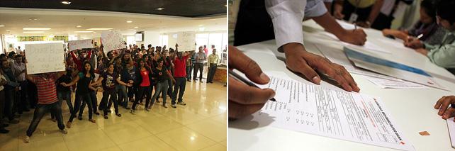 인도 직원들이 플래시몹을 공연하고 있다. 등록의 손길이 이어지고 있다.