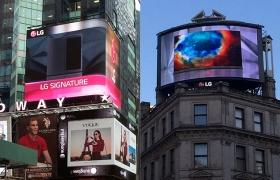 LG전자가 세계적 관광 명소인 뉴욕 타임스 스퀘어 및 런던 피카딜리 광장에서 초(超)프리미엄 가전 통합 브랜드 'LG 시그니처(Signature)' 광고를 상영하고 있는 사진 입니다.