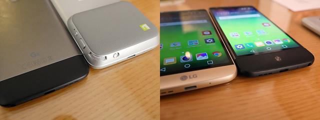 LG G5 프렌즈(좌), LG G5 테이블에 진열된 모습(우)